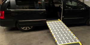 a picture of a deployed van ramp